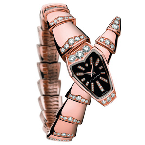 Bulgari Watches : Serpenti Jewellery Pink Gold Black Lacquered Dial
