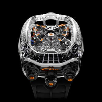 Jacob & Co. Bugatti Chiron Tourbillon Baguette Black & Orange Sapphires