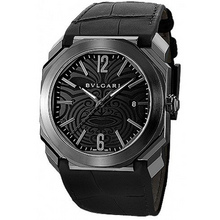 bvlgari octo solotempo black maori tattoo patterned dial mens watch 102249