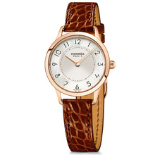 Slim 25mm rose gold etruscan alligator strap Calitho