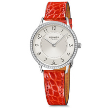 Slim 32mm steel with diamonds geranium alligator Calitho
