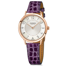 Slim 32mm rose gold ultraviolet alligator Calitho