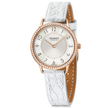 Slim 32mm rose gold with diamonds cloud white alligator Calitho