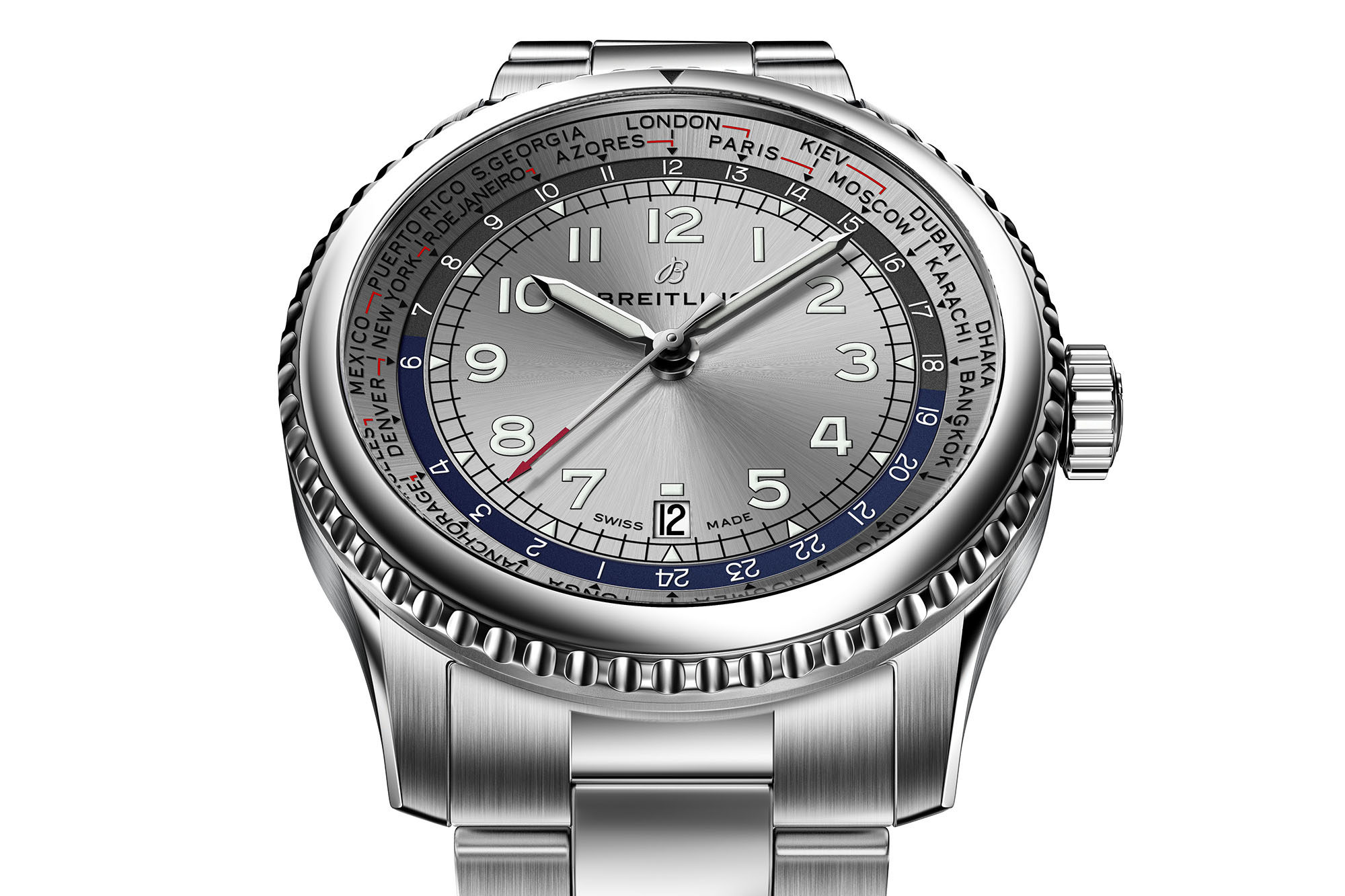 Breitling Navitimer 8 Unitime With Silver Dial And Stainless Steel Bracelet