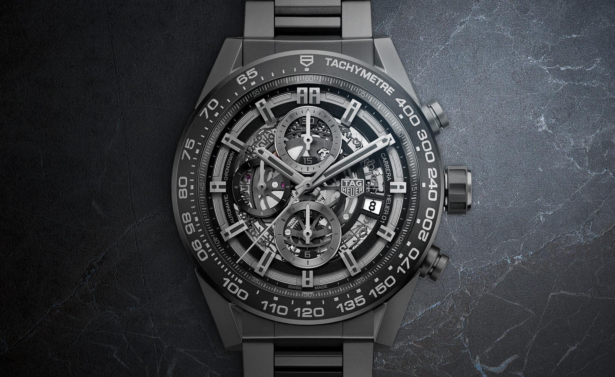92b21a0915c GENEVA 2017  TAG Heuer CARRERA HEUER-01 Full Black Matt Ceramic ...