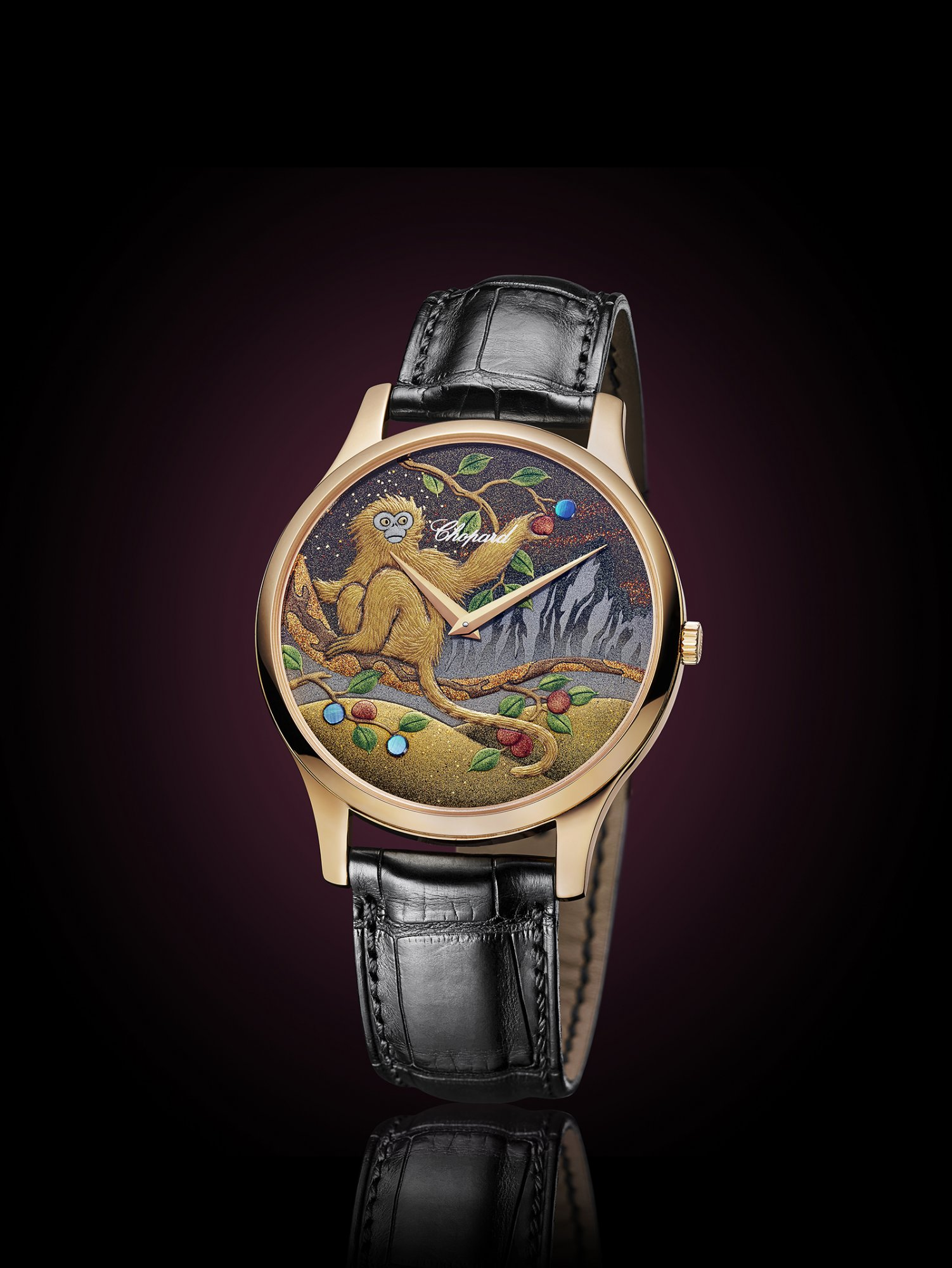 Luc xp urushi year of the monkey watchonista in the interpretation chosen by chopard a red coated monkey is perched on a branch laden with fruit it is gathering peaches beneath a golden sky ablaze buycottarizona Image collections